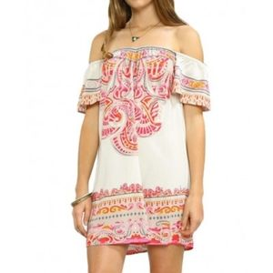 Flying Tomato Printed Off Shoulder Mini Dress